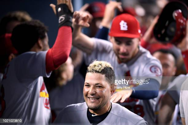 Yadier Molina of the St Louis Cardinals celebrates his two run homerun to score Jose Martinez to take a 31 lead over the Los Angeles Dodgers during...