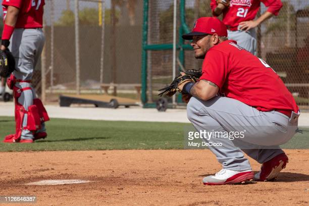 Yadier Molina of the St Louis Cardinals does drills during a spring training workout on Thursday February 21 2019 at Roger Dean Chevrolet Stadium in...