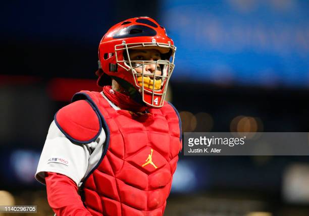 Yadier Molina of the St Louis Cardinals in action against the Pittsburgh Pirates at PNC Park on April 3 2019 in Pittsburgh Pennsylvania