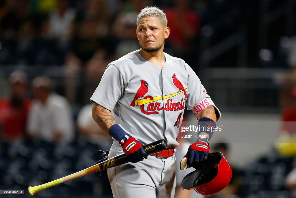 Yadier Molina #4 of the St. Louis Cardinals looks on after nearly being hit by a pitch in the seventh inning against the Pittsburgh Pirates at PNC Park on August 17, 2017 in Pittsburgh, Pennsylvania.