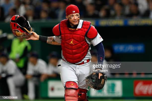 Yadier Molina of the St Louis Cardinals looks on during the Japan AllStar Series game against Team Japan at the Tokyo Dome on Sunday November 11 2018...