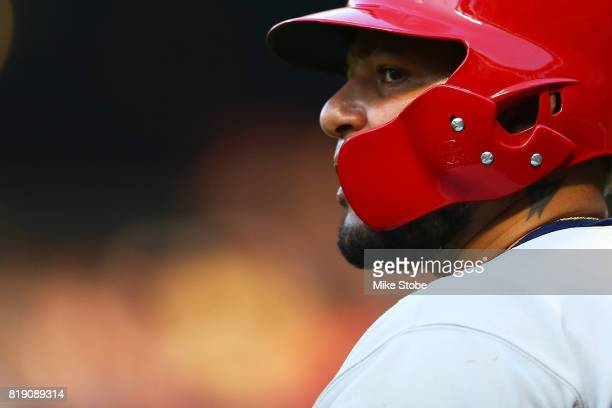 Yadier Molina of the St Louis Cardinals looks on in the first inning against the New York Mets at Citi Field on July 19 2017 in the Flushing...