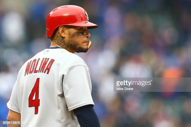 Yadier Molina of the St Louis Cardinals looks on in the ninth inning against the New York Mets on Opening Day at Citi Field on March 29 2018 in the...