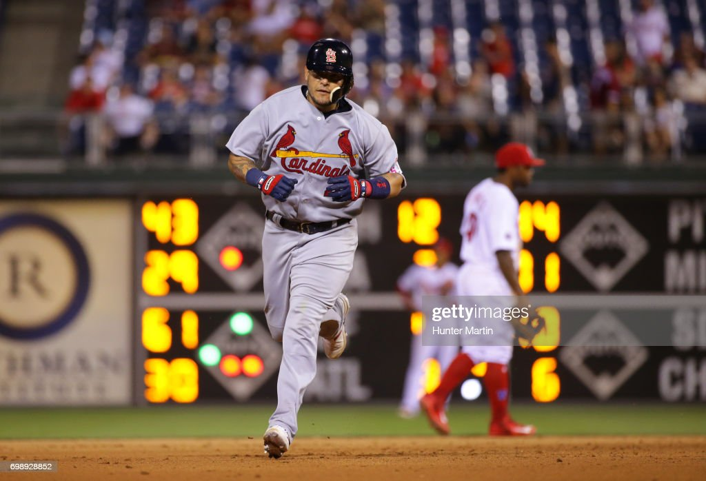 Yadier Molina #4 of the St. Louis Cardinals rounds the bases after hitting a two-run home run in the 11th inning during a game against the Philadelphia Phillies at Citizens Bank Park on June 20, 2017 in Philadelphia, Pennsylvania. The Cardinals won 8-1 in 11 innings.