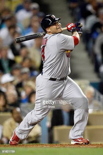 Yadier Molina of the St Louis Cardinalsat bat against the Los Angeles Dodgers in Game One of the NLDS during the 2009 MLB Playoffs at Dodger Stadium...