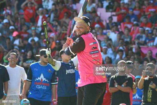 Yadier Molina participates in Home Run Derby as part of Yadier Molina Celebrity Softball Game at Hiram Bithorn Stadium on December 9, 2017 in San...