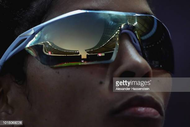Yadisleidy Pedroso of Italy looks on prior to the Women's 400m Hurdles Final during day four of the 24th European Athletics Championships at...