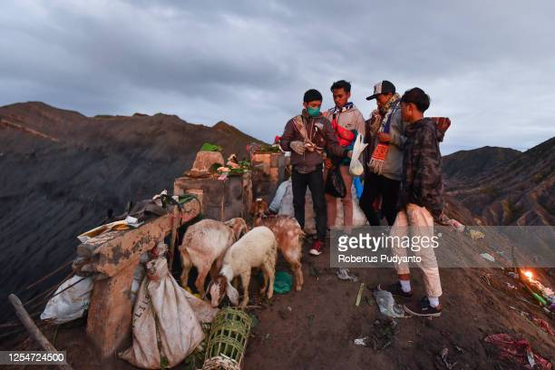 yadnya kasada festival in indonesia - bromo crater stock pictures, royalty-free photos & images