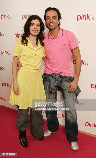 Yael and Kamel Ouali in the studio during the launch of France's first gay television channel 'Pink TV'