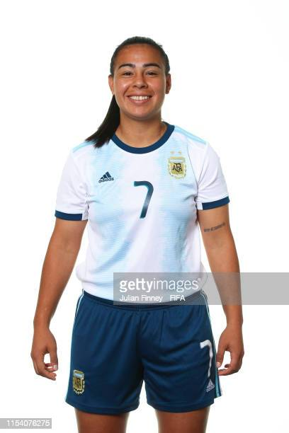 Yael Oviedo of Argentina poses for a portrait during the official FIFA Women's World Cup 2019 portrait session at Melia Paris La Defense on June 06...
