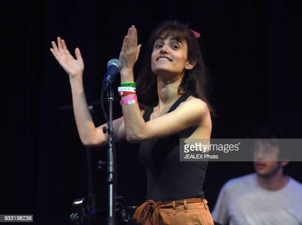Yael Shoshana Cohen and Dekel Dvir of Lola Marsh perform onstage at International Day Stage during SXSW on March 17 2018 in Austin Texas