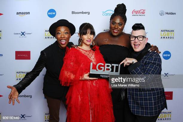 Yael Stone Samira Wiley Danielle Brooks and Lea DeLaria of Orange Is The New Black pose with the Film TV Web Series Award in the media room during...