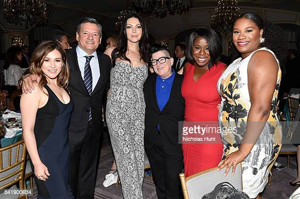 Yael Stone Ted Sarandos Laura Prepon Lea DeLaria Uzo Aduba and Adrienne Moore attend the Museum of the Moving Image honoring Netflix Chief Content...
