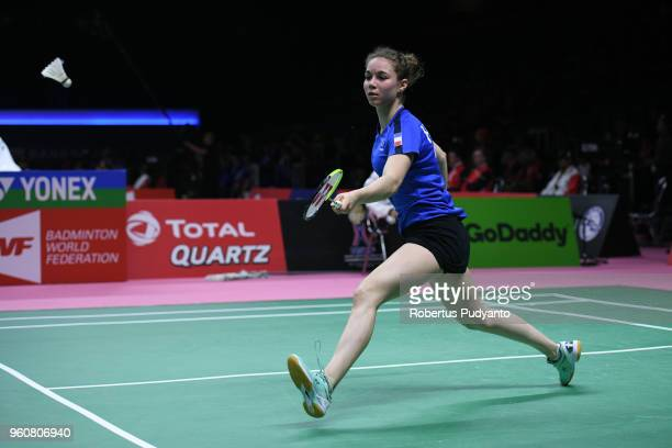 Yaelle Hoyaux of France competes against He Bing Jiao of China during Preliminary Round on day two of the BWF Thomas Uber Cup at Impact Arena on May...