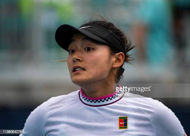 Yafan Wang of China looks to her box during her match against Danielle Collins of the United States in the third round of the women's singles in the...