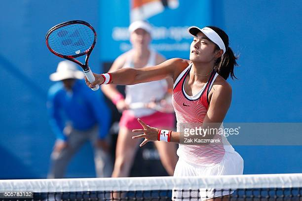 Yafan Wang of China plays a forehand in her first round match with Barbora Krejcikova of the Czech Republic against Alison Van Uytvanck of Belgium...