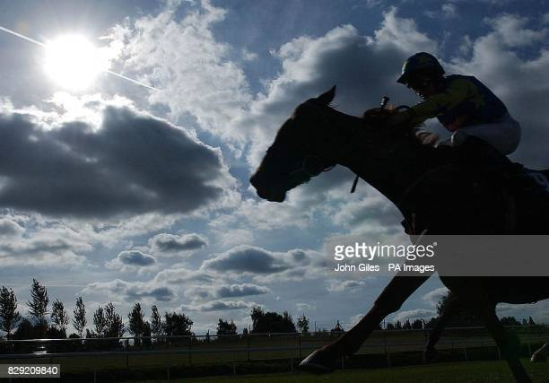 Yafoul and Michael Hills fight out the finish at Pontefract Races Yorkshire to win the EBF Poppin Lane Maiden Stakes