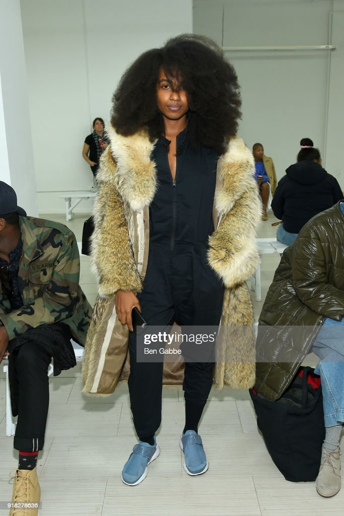 Yagazie Emezi attends the Maki Oh fashion show during New York Fashion Week on February 14, 2018 in New York City.
