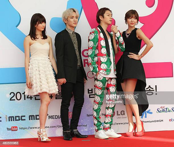 Yagi Arisa Key of SHINee Kim HeeChul of Super Junior and Puff pose for photographs during the MBC 'We Got Married' global edition season 2 press...