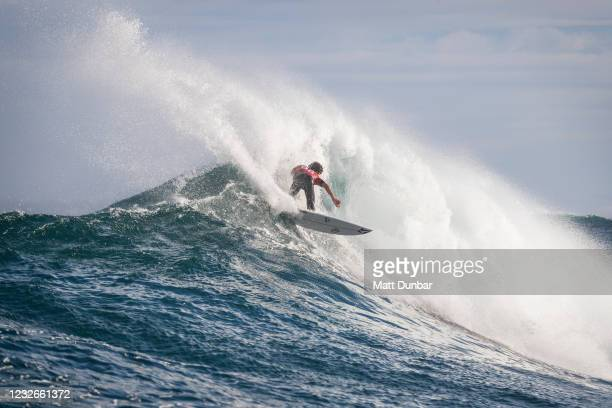 Yago Dora of Brazil surfing in Heat 12 of Round 1 of the Boost Mobile Margaret River Pro presented by Corona on May 3, 2021 in Margaret River, WA,...