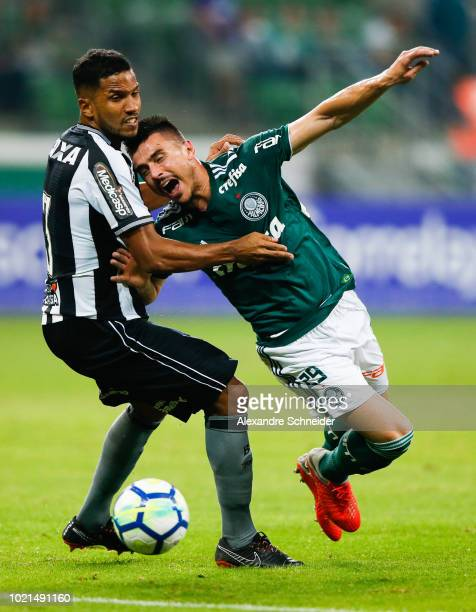 Yago of Botafogo and Willian of Palmeiras compete for the ball during the match for the Brasileirao Series A 2018 at Allianz Parque Stadium on August...