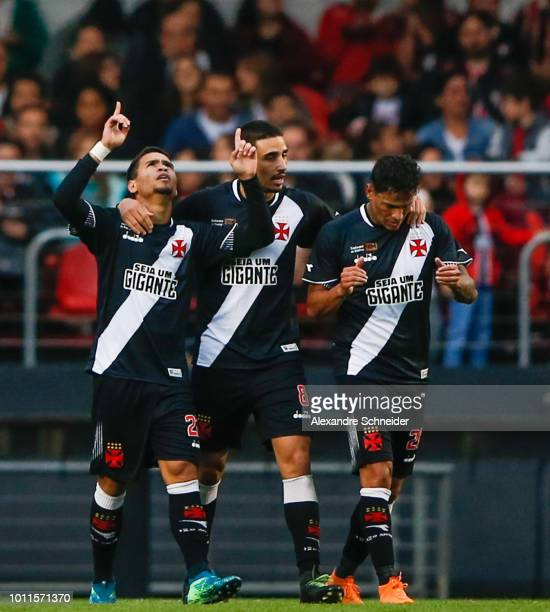 Yago Pikachu L0 of Vasco da Gama celebrates with his team mates after scoring their first goal during the match between Sao Paulo and Vasco da Gama...