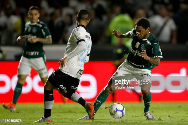 Yago Pikachu of Vasco da Gama and Luiz Adriano of Palmeiras fights for the ball with during a match between Vasco and Palmeiras as part of...