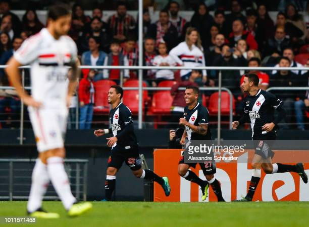 Yago Pikachu of Vasco da Gama celebrates with his team mates after scoring their first goal during the match between Sao Paulo and Vasco da Gama for...