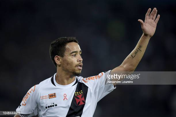 Yago Pikachu of Vasco da Gama reacts during the match between Botafogo and Vasco da Gama as part of Brasileirao Series A 2018 at Engenhao Stadium on...