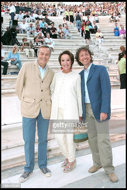 Yaguel Didier and her husband Patrick de Bourgues Stephane Bern at Nana Mouskouri's Farewell Concert At Odeon Herodes Atticus In Athens