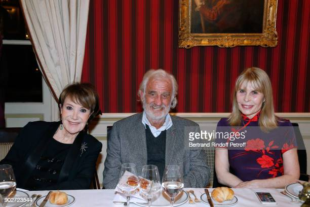 Yaguel Didier JeanPaul Belmondo and Candice Patou attend Robert Hossein celebrates his 90th Anniversary at 'Laurent Restaurant' on January 8 2018 in...