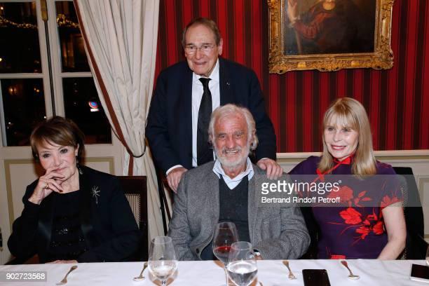 "Yaguel Didier, Robert Hossein, Jean-Paul Belmondo and Candice Patou attend Robert Hossein celebrates his 90th Anniversary at ""Laurent Restaurant"" on..."