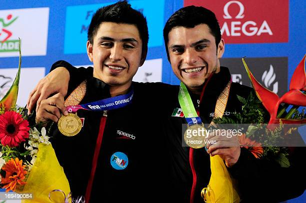 Yahel Castillo and Daniel Islas from Mexico gold medal during the Men's 3 meters Synchronized Springboard Finals of the FINA MIDEA Diving World...