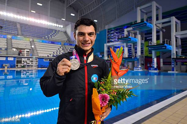 Yahel Castillo from Mexico poses during the Men's 3 meters Springboard Finals of the FINA MIDEA Diving World Series 2013 at Pan American Aquatic...