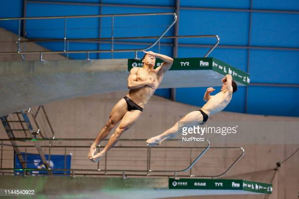 Yahel CASTILLO HUERTA and Juan CELAYA DERNANDEZ of Mexico compete in the Men's 3 meter Synchro Springboard final during the last meeting of the FINA...