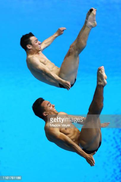 Yahel Castillo Huerta and Juan Manuel Celaya Hernandez of Mexico compete in the Men's 3m Synchro Springboard Final on day two of the Gwangju 2019...