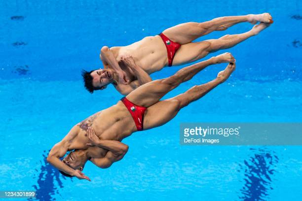 Yahel Castillo Huerta of Mexico and Juan Manuel Celaya Hernandez of Mexico compete during the Men's Synchronised 3m Springboard Final on day five of...