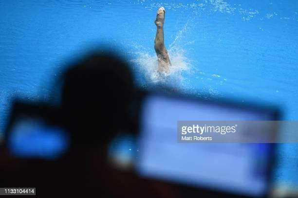Yahel Castillo Huerta of Mexico competes during the Men's 3m Springboard semifinal on day two of the FINA Diving World Cup Sagamihara at Sagamihara...