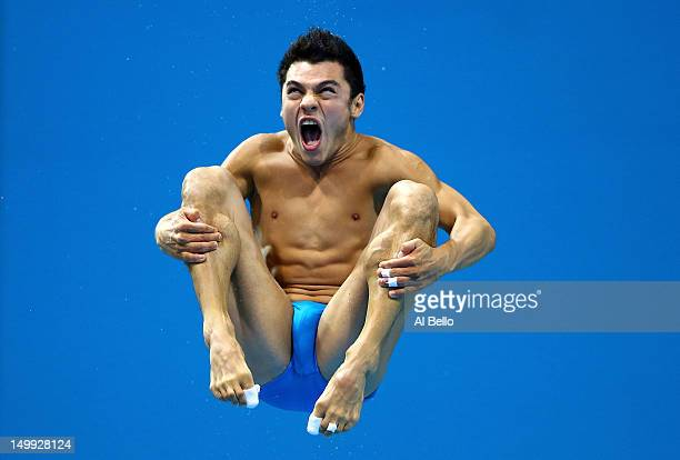 Yahel Castillo Huerta of Mexico competes in the Men's 3m Springboard Diving Semifinal on Day 11 of the London 2012 Olympic Games at the Aquatics...