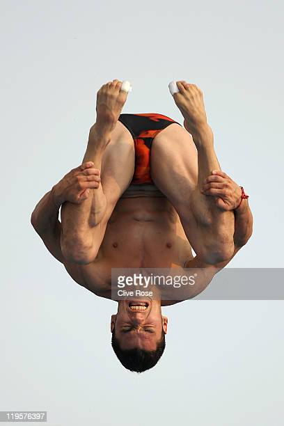 Yahel Castillo of Mexico compete in the Men's 3m Springboard Final during Day Seven of the 14th FINA World Championships at the Oriental Sports...