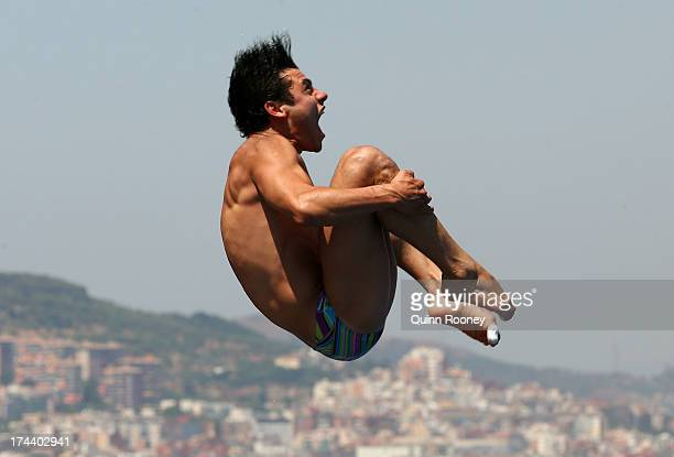 Yahel Castillo of Mexico competes in the Men's 3m Springboard Diving semi final on day six of the 15th FINA World Championships at Piscina Municipal...
