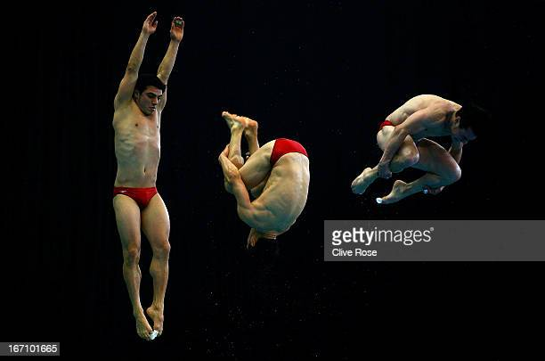 Yahel Castillo of Mexico competes in the Men's 3m Springboard Final during day two of the FINA/Midea Diving World Series 2013 at the Royal...