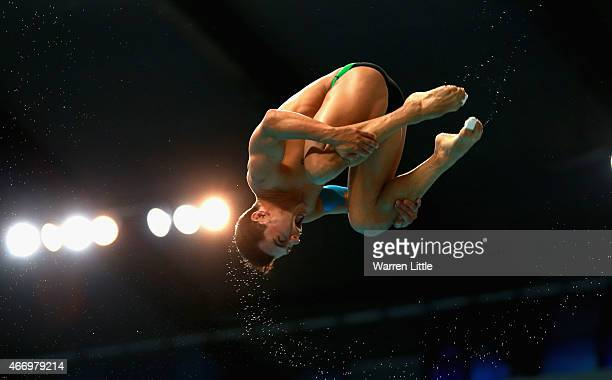 Yahel Castillo of Mexico dives during the Men's 3m Springboard semi final on day two of the 2015 FINA/NVA Diving World Series at the Hamdan Sports...