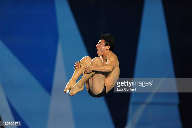 Yahel Castillo of Mexico during the Men's 3m trampoline diving final in the 2011 XVI Pan American Games at Scotiabank Aquatic Center on October 27...