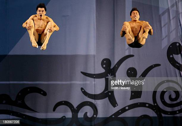 Yahel Ernesto Castillo and Julian Isaac Sanchez of Mexico in action during the Men's Synchronised 3M Springboard Diving during Day 12 of the XVI Pan...