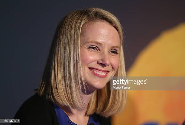 Yahoo! CEO Marissa Mayer attends a news conference following the company's acquisition of Tumblr at a press conference in Times Square on May 20,...