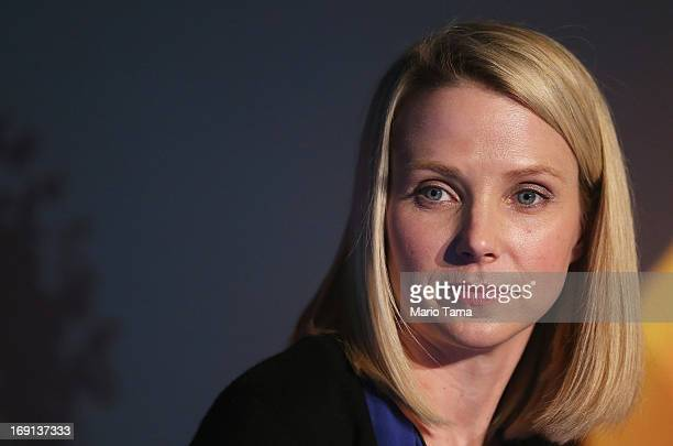 Yahoo CEO Marissa Mayer attends a news conference following the company's acquisition of Tumblr at a press conference in Times Square on May 20 2013...