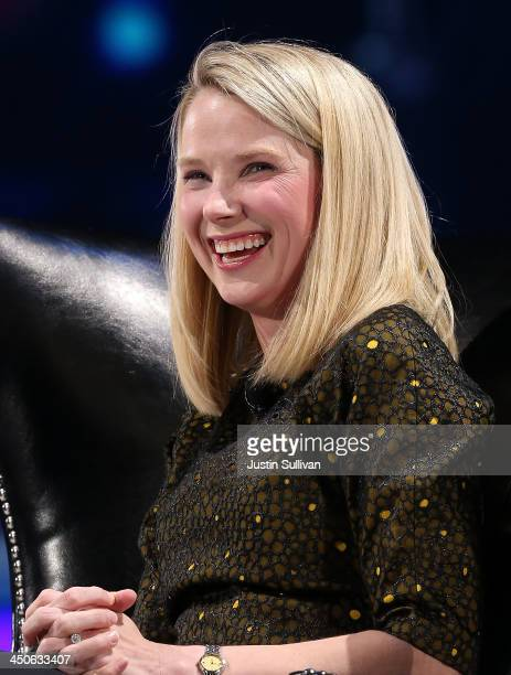 Yahoo CEO Marissa Mayer speaks during a conversation with Salesforce chairman and CEO Marc Benioff at the 2013 Dreamforce conference on November 19...