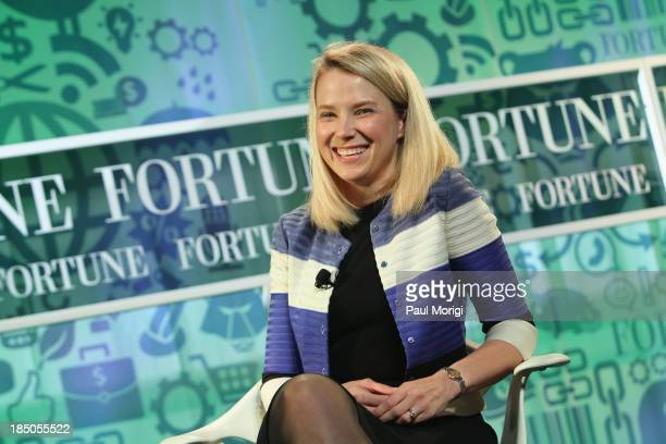 Yahoo CEO Marissa Mayer speaks onstage at the FORTUNE Most Powerful Women Summit on October 17 2013 in Washington DC