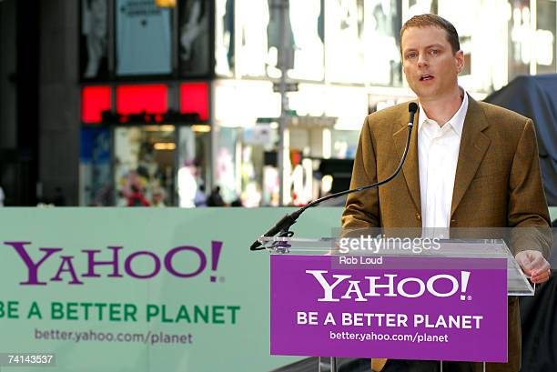Yahoo cofouder David Filo speaks at the launch of Global Green USA in Times Square May 14 2007 in New York City The press conference was held to...